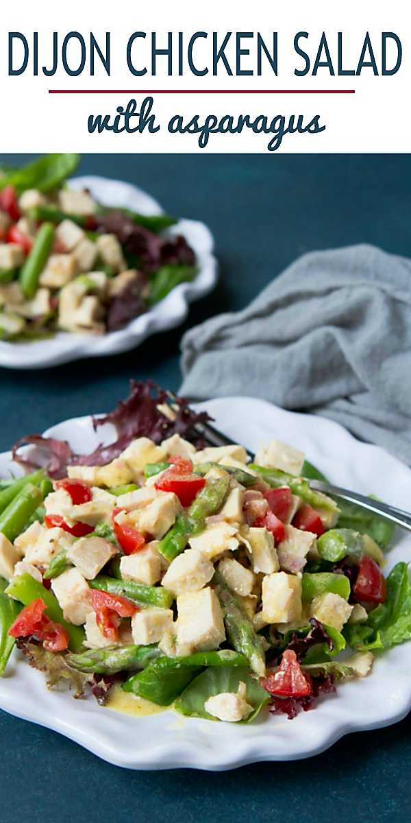 Looking for an easy chicken salad recipe that is mayo-free? Tossed with asparagus, tomatoes and a Dijon vinaigrette, this version fits the bill. 179 calories and 2 Weight Watchers Freestyle SmartPoints