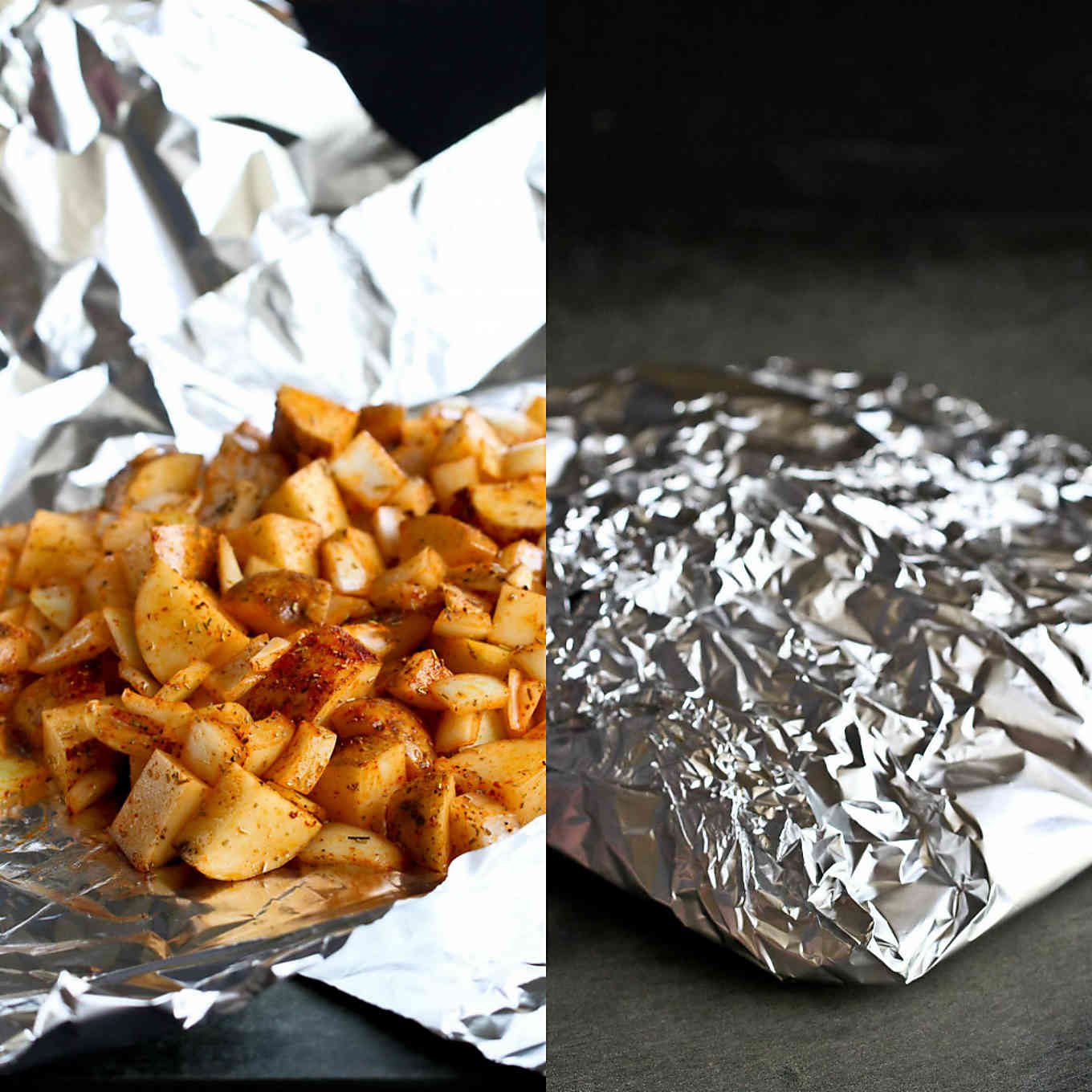 Seasoned potatoes wrapped in a foil packet, ready for the barbecue.