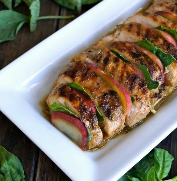 Summer Peach-Basil Grilled Chicken by Cooking on the Weekends