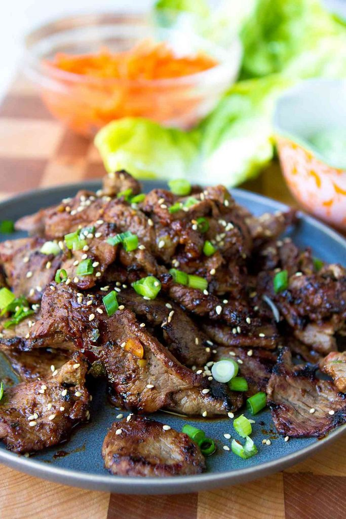 Cooked Korean BBQ beef, perfectly charred and golden brown.