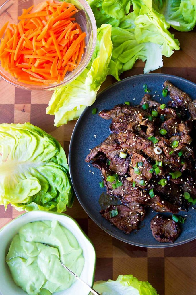 This Korean barbecue recipe couldn't be easier! Serve it up in lettuce wraps, with a dollop of creamy avocado sauce. 113 calories and 3 Weight Watchers Freestyle SmartPoints