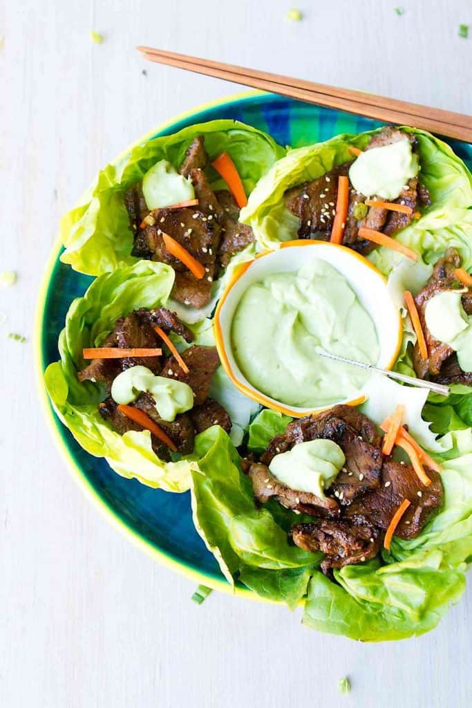 Dollop some creamy avocado sauce on top of these Korean BBQ Lettuce Wraps and serve them up as appetizers or entrees. Easy and delicious! 113 calories and 3 Weight Watchers Freestyle SP