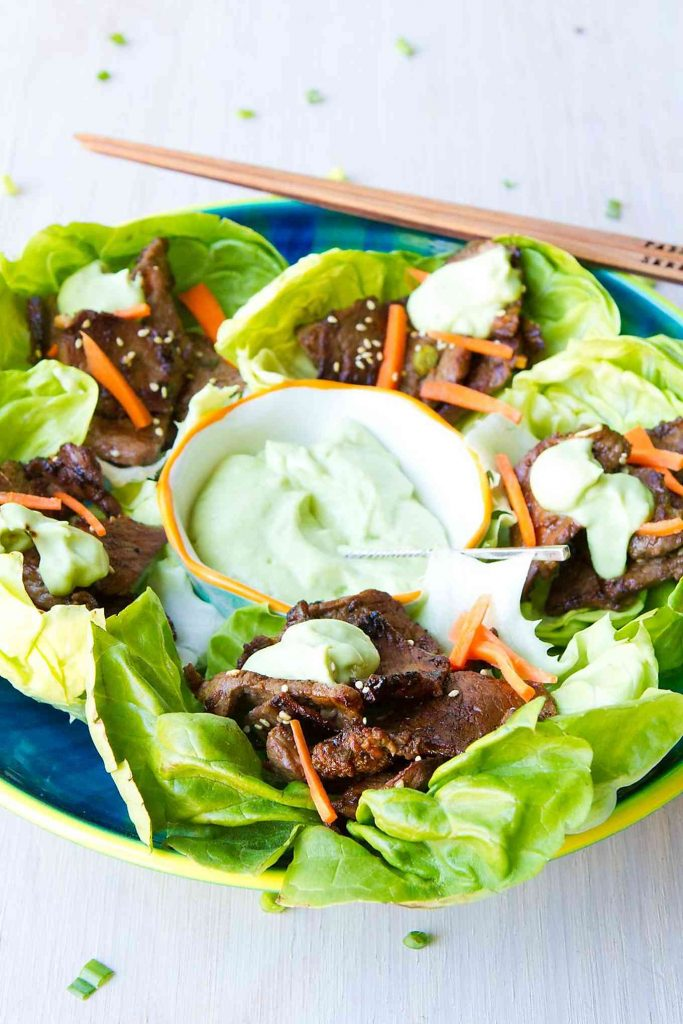 Tucked inside of lettuce wraps, this tender and perfectly charred Korean beef barbecue is ready to serve as appetizers or entrees. Topped off with an easy avocado sauce. 113 calories and 3 Weight Watchers Freestyle SP