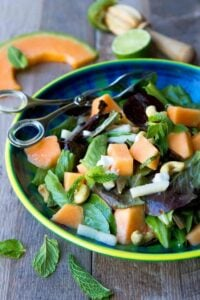 One of the best salads I have eaten in a long time! This sweet and savory Cantaloupe Goat Cheese Salad is topped off with a lime mint dressing. 174 calories and 3 Weight Watchers Freestyle SP
