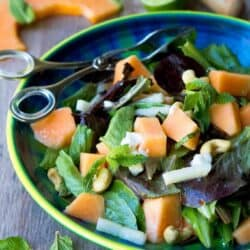 Cantaloupe Goat Cheese Salad with Lime Mint Dressing
