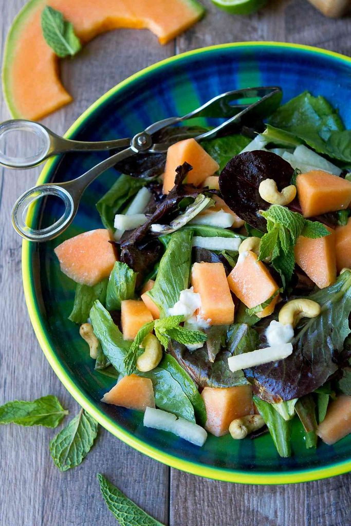 Amazing sweet and savory flavors in this Cantaloupe Goat Cheese Salad. The lime mint dressing adds a citrusy kick. 174 calories and 3 Weight Watchers Freestyle SmartPoints