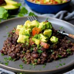 You can't beat Instant Pot Black Beans and Rice with Avocado Salsa for a healthy, economical meal that comes together easily! 192 calories and 6 Weight Watchers Freestyle SP