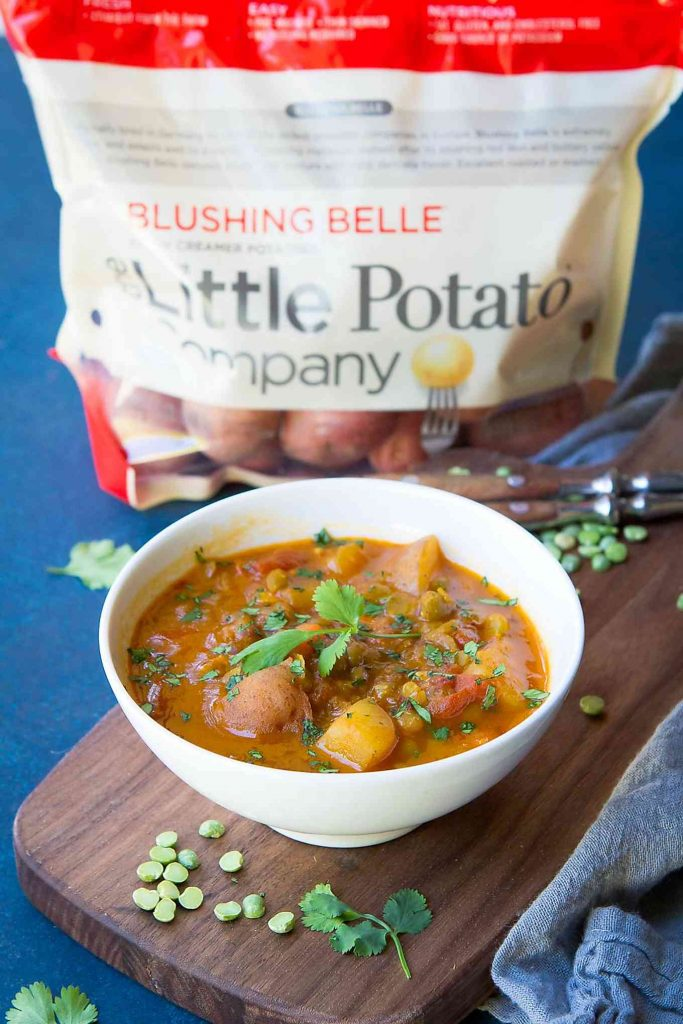 So much flavor in this Southwestern Instant Pot Split Pea Soup with Potatoes. Hearty, vegan and delicious! 140 calories and 2 Weight Watchers Freestyle SP
