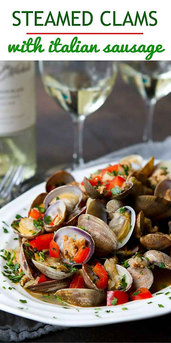 This steamed clam recipe is SO easy to put together and has out-of-this-world flavor, with a white wine and Italian sausage sauce. 192 calories and 3 Weight Watchers Freestyle SP