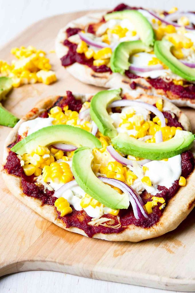 Barbecue chicken pizza is a classic recipe and it's even better when cooked on the grill and topped with creamy avocado slices. 296 calories and 8 Weight Watchers Freestyle SP