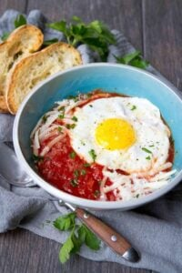Serve up this Italian Eggs in Purgatory recipe for breakfast, lunch or dinner. Easy, healthy and delicious! 240 calories and 3 Weight Watchers Freestyle SP