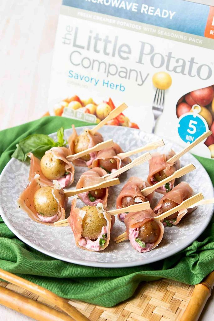 These Prosciutto Potato Skewer appetizers are a breeze to put together and are guaranteed to be a hit at your next backyard bbq! 41 calories and 2 Weight Watchers Freestyle SP