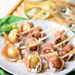 Prosciutto Potato Skewers with Cherry Goat Cheese