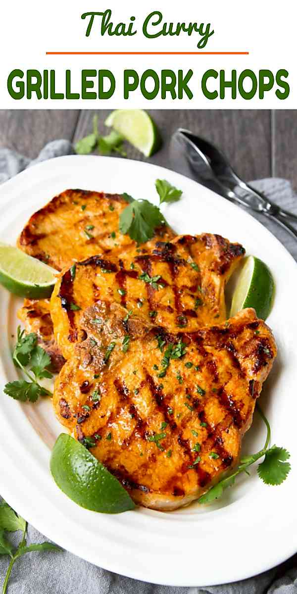 Grilled pork chop recipes are fantastic for quick and easy summertime meals, especially when paired with a Thai curry marinade! 279 calories and 6 Weight Watchers Freestyle SP #porkchops #grilling #dinner