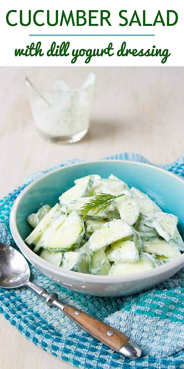 This easy cucumber salad recipe is a staple for summertime potlucks! 24 calories and 0 Weight Watchers Freestyle SP #recipe #salad #vegetarian