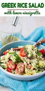 This 15-minute Greek Rice Salad recipe is packed with veggies and tossed with a light lemon vinaigrette. Perfect for potlucks! 125 calories and 4 Weight Watchers Freestyle SP #glutenfree #salad #Greek #healthy #recipe