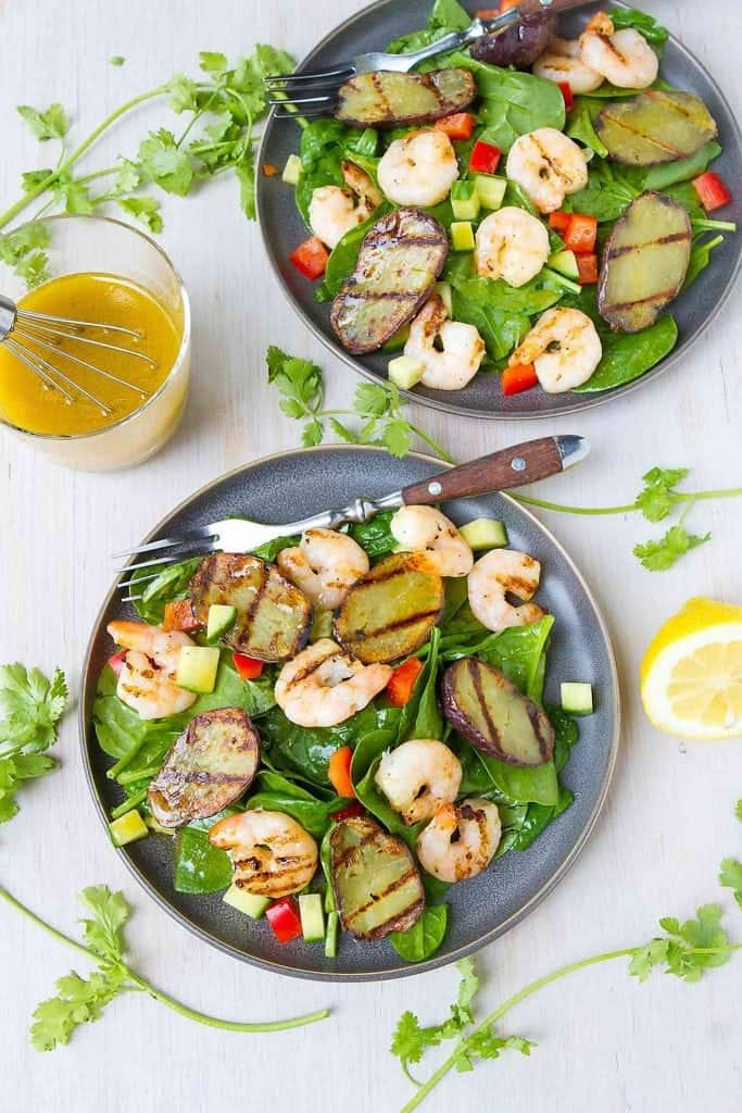 There are so many fantastic flavors in this Grilled Moroccan Shrimp Potato Salad recipe. Healthy, flavorful and delicious lunch or dinner recipe. 289 calories and 5 Weight Watchers Freestyle SP #salad #cleaneating