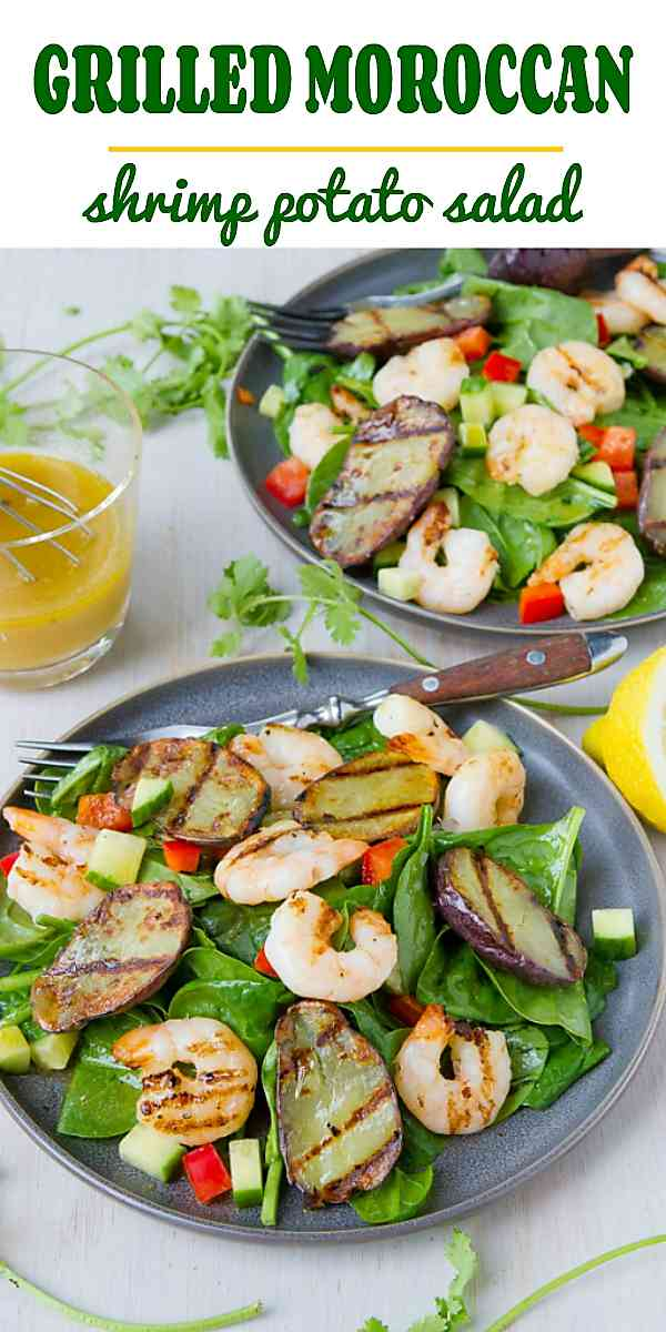 Summer salad recipes never need to be boring! A Moroccan-inspired dressing is drizzled over smoky grilled potatoes and shrimp, all on top of a bed of spinach. 289 calories and 5 Weight Watchers Freestyle SP #CreamerPotatoes #AddaLittleSizzle #salad #healthyeating