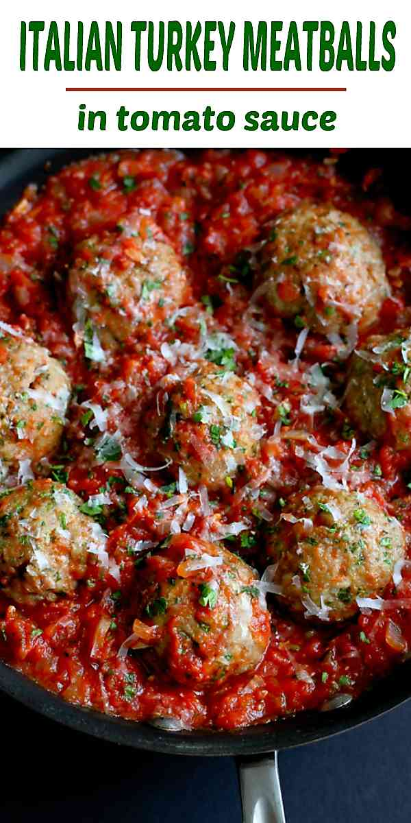 Healthy Italian Turkey Meatballs are a fantastic healthy dinner option. Serve over pasta or go low carb with cauliflower rice. 336 calories and 5 Weight Watchers Freestyle SP #meatballs #recipe #dinner #healthy