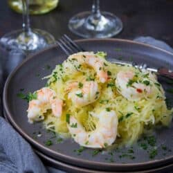 Shrimp scampi takes a low carb turn by replacing the standard dose of pasta with spaghetti squash. 243 calories and 3 Weight Watchers Freestyle SP