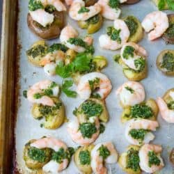 Easy clean up and tons of flavor in this Chimichurri Shrimp and Potato Sheet Pan Meal. Another healthy weeknight dinner idea. 381 calories and 8 Weight Watchers Freestyle SP
