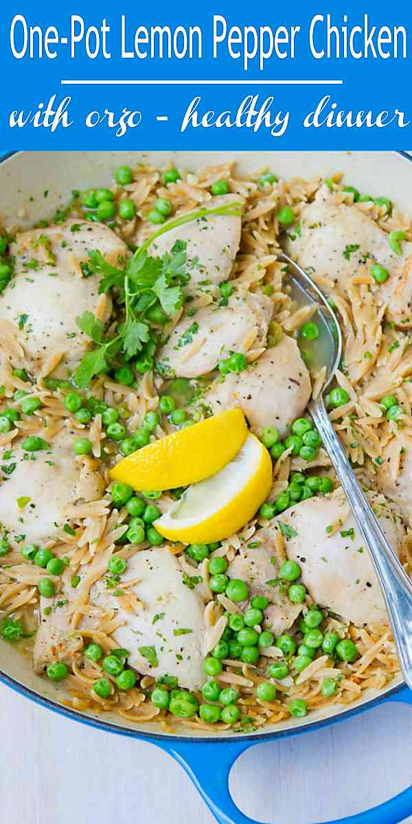 This Lemon Pepper Chicken recipe, served with orzo, is an easy and delicious one-pot meal that the whole family will love. 350 calories and 6 Weight Watchers Freestyle SP #chicken #recipe #30minutemeal