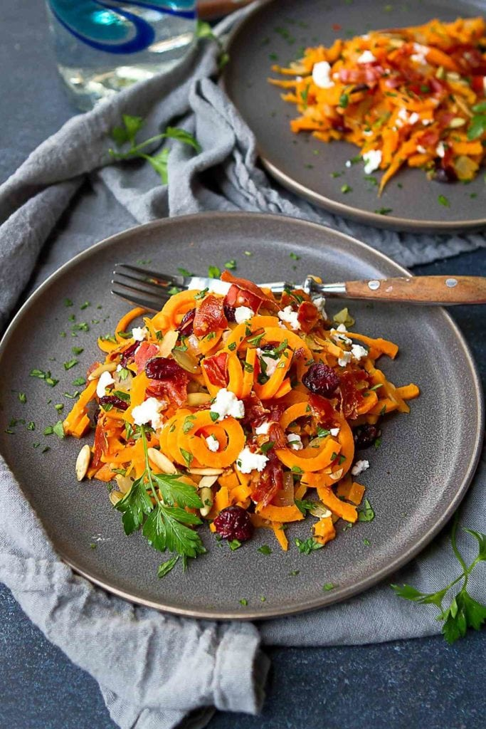 Spiralized sweet potato noodles are a great way to lighten up fall side dishes. Add prosciutto and goat cheese for a ton of flavor! 167 calories and 6 Weight Watchers Freestyle SP