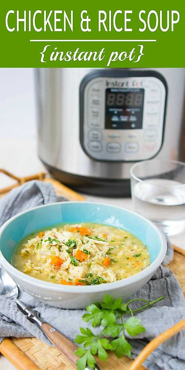 When you have a cold or cough, there is nothing more comforting than a bowl of this Instant Pot Chicken Rice Soup! 241 calories and 5 Weight Watchers Freestyle SP #pressurecooker #chickenrecipe