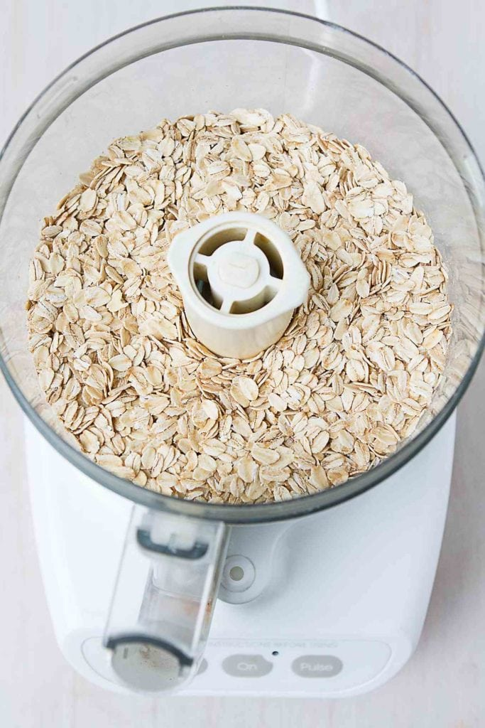 Whole oats in a food processor.
