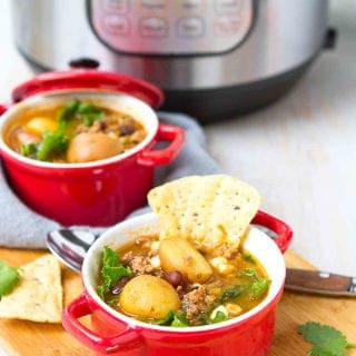 Your family is going to love this one! Instant Pot Taco Soup with Potatoes is a breeze to make and chockfull of flavor. 267 calories and 4 Weight Watchers Freestyle SP #instantpot #soup #cleaneating