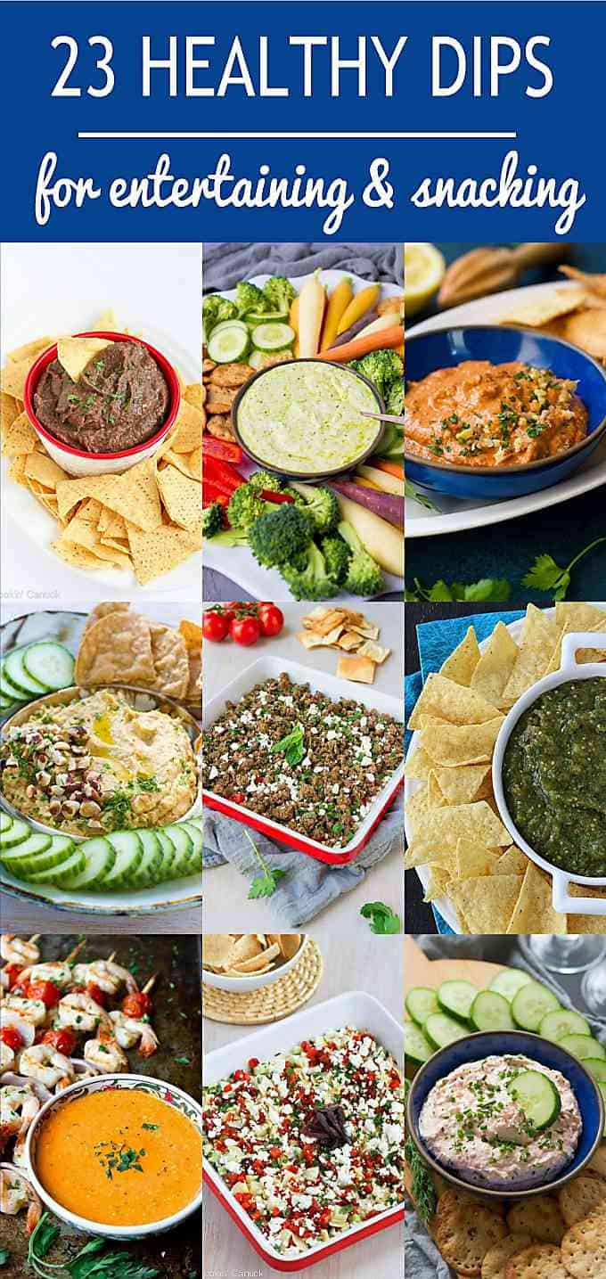Dipping time! Healthy dips are always great to have on hand for cocktail or game day parties, or if you just have the afternoon munchies. #appetizer #entertaining #dips