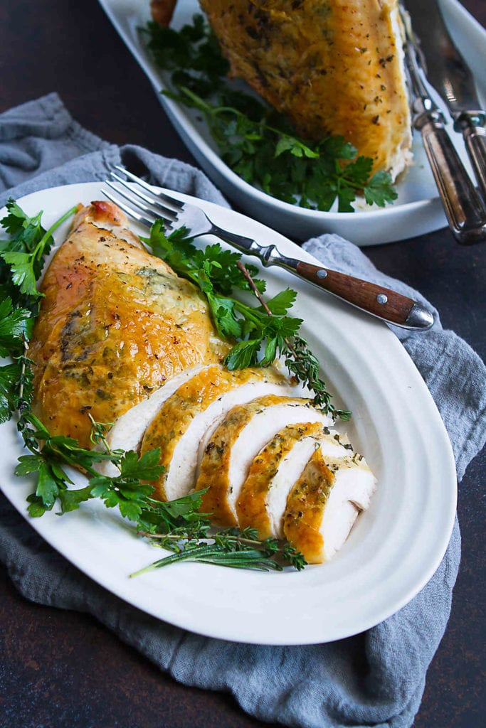 Cooking turkey breast could not be easier! A great, healthy option for Thanksgiving or a Sunday meal. 190 calories and 2 Weight Watchers Freestyle SP #thanksgiving #recipe #turkey