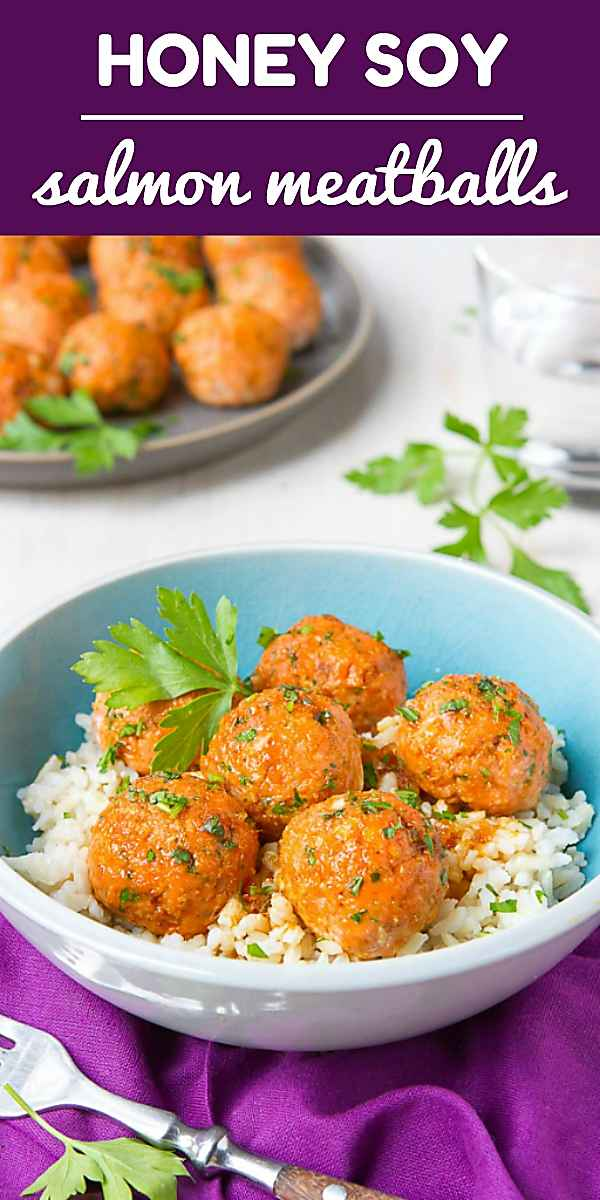 Salmon patties just got fancy and turned themselves into meatballs! Serve these Soy Honey Salmon Meatballs over rice, with a side of stir-fried vegetables for a heart healthy, delicious dinner! 113 calories and 1 Weight Watchers Freestyle SP #dinnerrecipe #eatclean #salmon