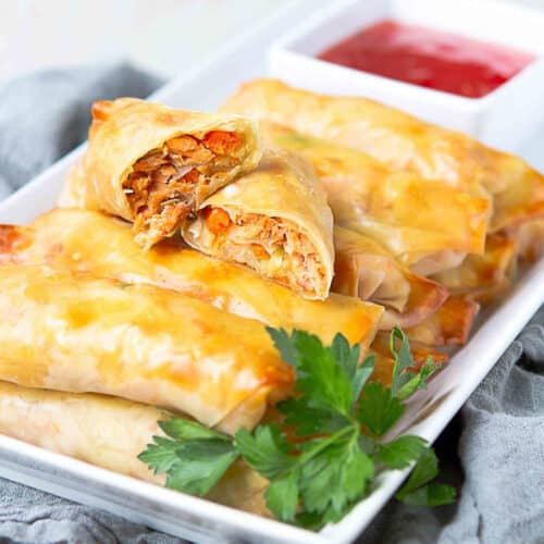 Baked Teriyaki Salmon Egg Rolls Recipe Cookin Canuck