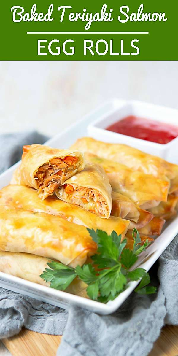 These baked egg rolls, stuffed with teriyaki salmon and a delicious cabbage stir fry are a great addition to the appetizer table. 183 calories and 2 Weight Watchers Freestyle SP #recipe #appetizerrecipes