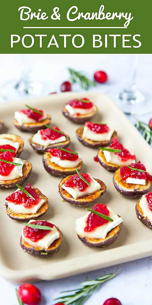 Perfectly pop-able potato bites for your holiday or game day parties! Creamy Brie and sweet cranberry sauce add a burst of flavor. 51 calories and 2 Weight Watchers Freestyle SP #Brie #potatoes #appetizerrecipes #recipe