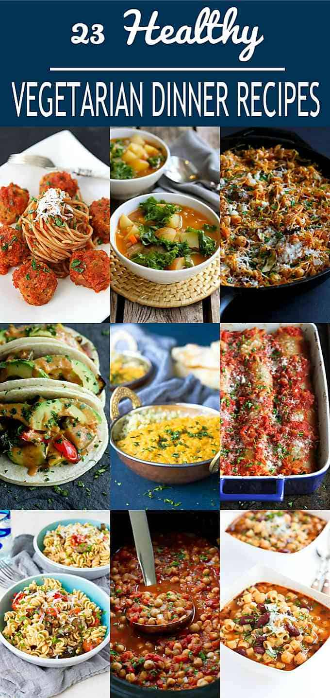 Looking to work more meatless meals into your meal plan? These are 23 of my favorite healthy vegetarian dinner recipes for you to try. You won't even miss the meat! #vegetarian #dinnerrecipes #healthy #cleaneating #weightwatchers