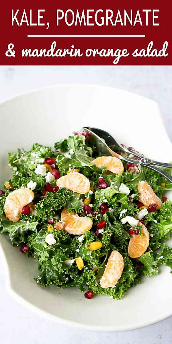 Pomegranates, mandarin oranges and goat cheese shine in this easy, healthy kale salad recipe. 98 calories and 2 Weight Watchers Freestyle SP #saladrecipes #kalesalad