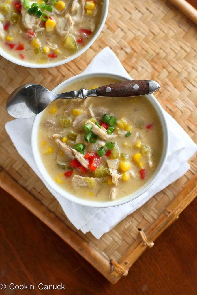 This light corn chowder recipe uses leftover turkey or chicken. It's hearty, satisfying and a fraction of the calories of most chowders. 223 calories and 3 Weight Watchers Freestyle SP #leftovers #chicken #recipe