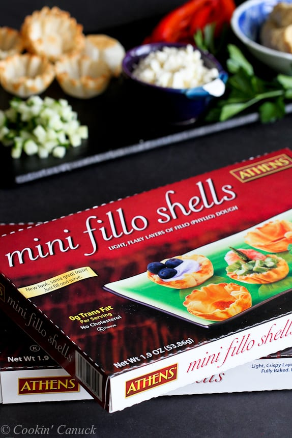 Boxes of Athens Foods mini phyllo shells.
