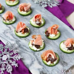 Prosciutto & Goat Cheese Cucumber Appetizers