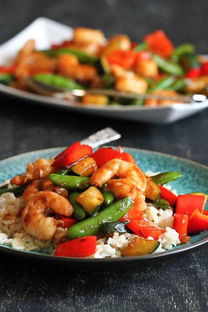 Shrimp and Vegetable Stir Fry with Jasmine…Quick and healthy, with plenty of flavor! 322 calories and 6 Weight Watcher Freestyle SP #dinner #shrimprecipe