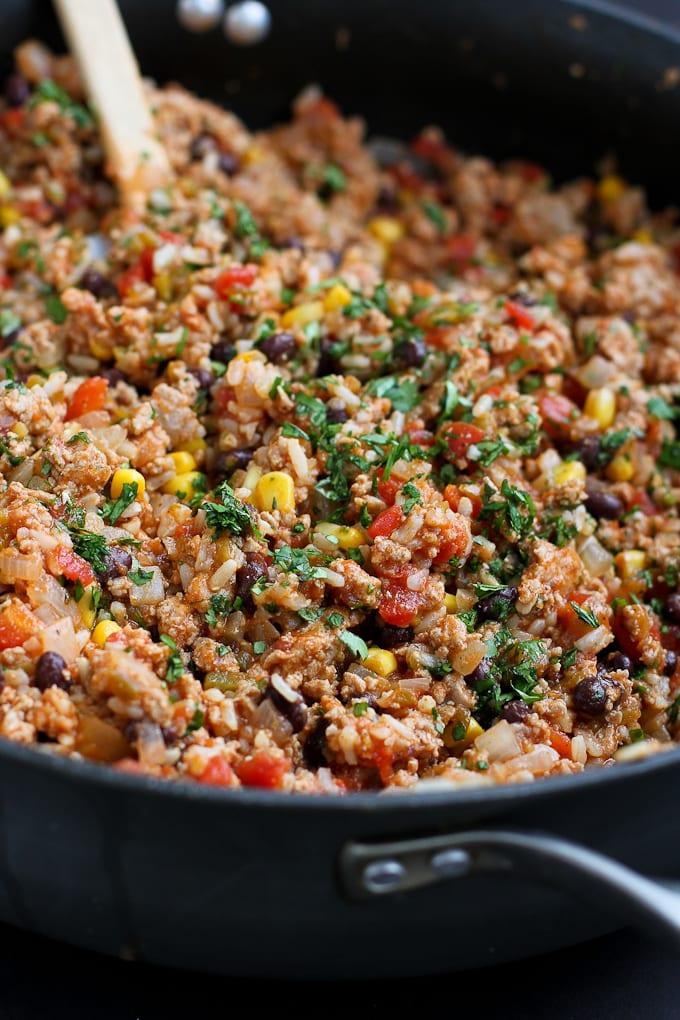 Ground turkey, rice, black beans, tomatoes and cilantro in a large skillet.