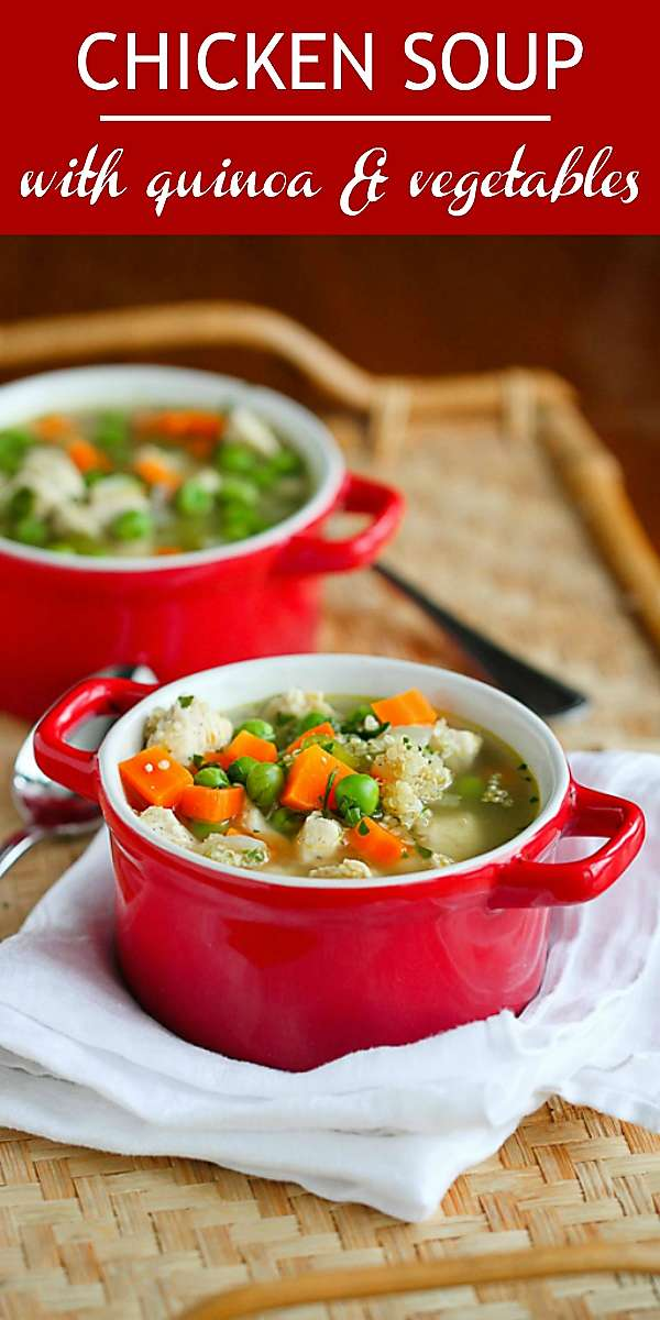 Easy chicken soup for a healthy, comforting weeknight meal! Plenty of quinoa and vegetables for added nutrients. 212 calories and 3 Weight Watchers Freestyle SP #weightwatchers #wwfreestyle #chicken #soup