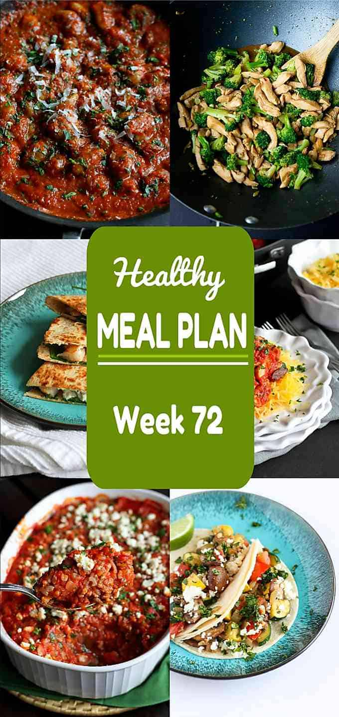 Ready for another addition of my healthy meal plan? Week 72 includes some family favorites, both meat and meatless, all with calorie counts and Weight Watchers SP. #mealplan #weightwatchers