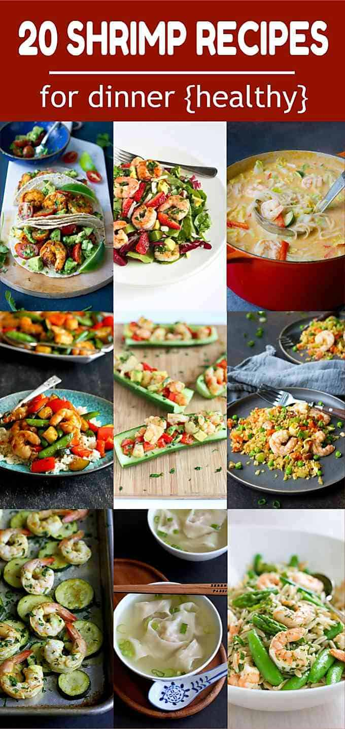 20 Healthy Shrimp Recipes for Dinner! If you love shrimp, you're going to love these recipes. Everything from soups to low carb meals. All with calorie counts and Weight Watchers SP. #shrimp #dinner #recipe #weightwatchers