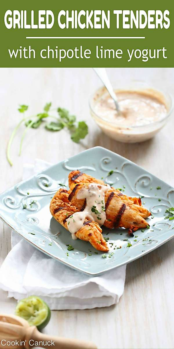 Easy grilled chicken tenders are made even better with a zippy chipotle lime yogurt sauce. 179 calories and 2 Weight Watchers Freestyle SP #weightwatchers #dinnerrecipes