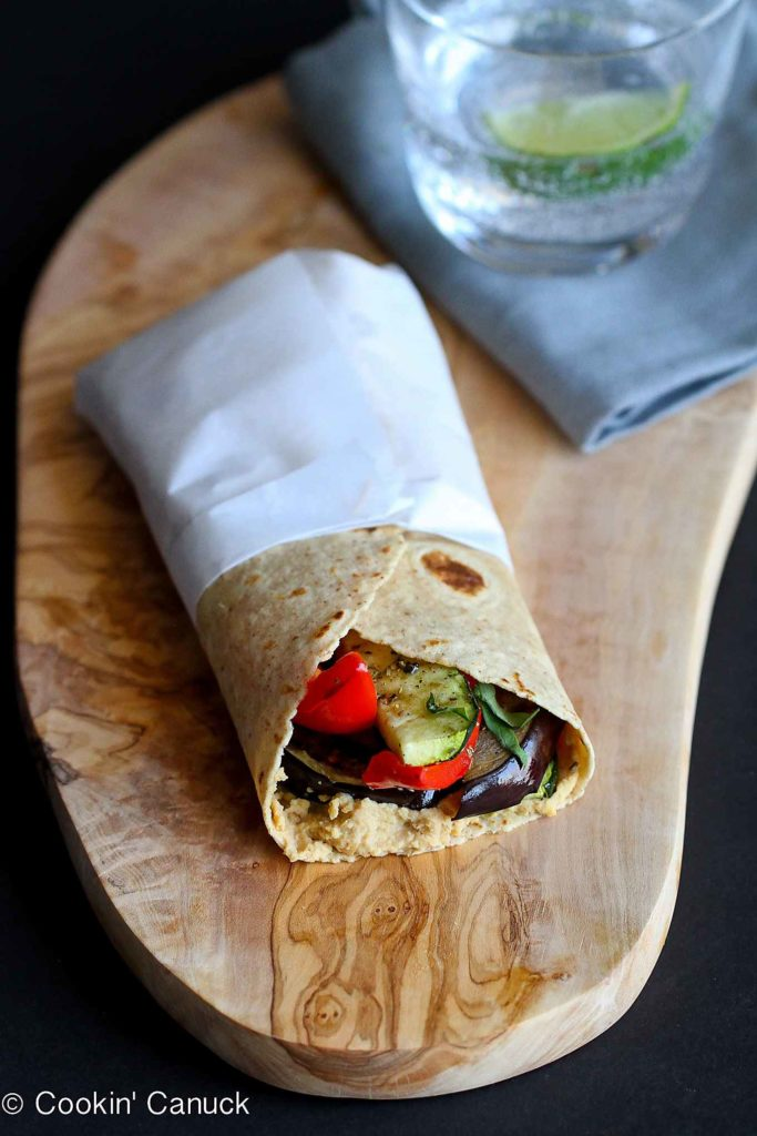 Grilled vegetables add a smoky flavor to this easy wrap recipe. A great meatless lunch option! 232 calories and 4 Weight Watchers Freestyle SP #vegetarian #meatlessmonday #myfitnesspal