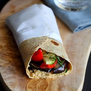 This easy vegan Grilled Vegetable Wrap Sandwich is made even better with a smear of hummus and a sprinkle of fresh basil. It's perfect for Meatless Monday! 232 calories and 4 Weight Watchers Freestyle SP #vegan #weightwatchers