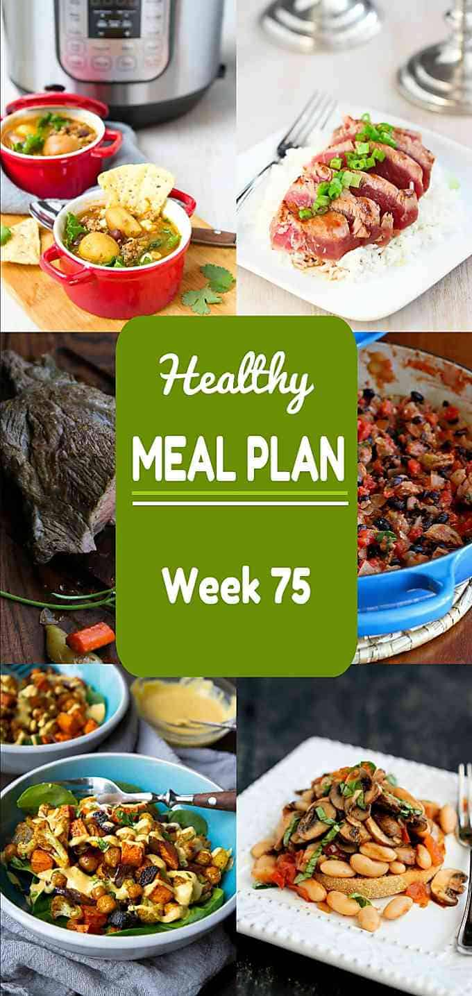This week's healthy meal plan has plenty of great choices, including a special occasion meal for two! Nutritional information and Weight Watchers SP included. #mealplan #mealplanning